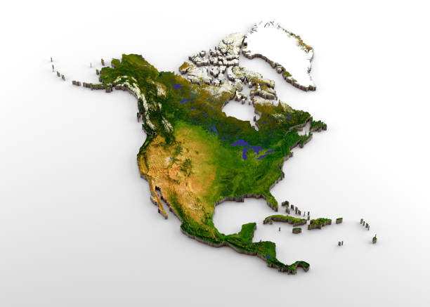 realistic 3d extruded map of north america (north american continent,including central america) - continent geographic area stock photos and pictures
