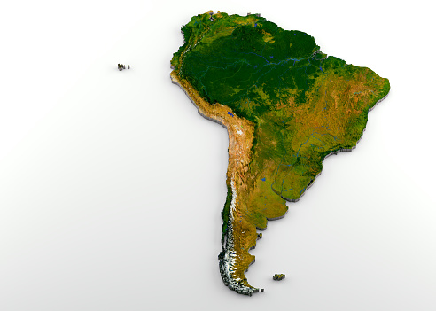 istock Realistic 3D Extruded Map of South America 1057495158