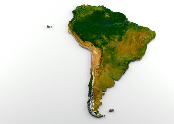 realistic 3d extruded map of south america - continent geographic area stock photos and pictures