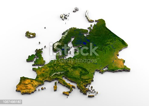 istock Realistic 3D Extruded Map of the European Continent (inclusive of Western Europe,Eastearn Europe,and western part of Russia) 1057495182