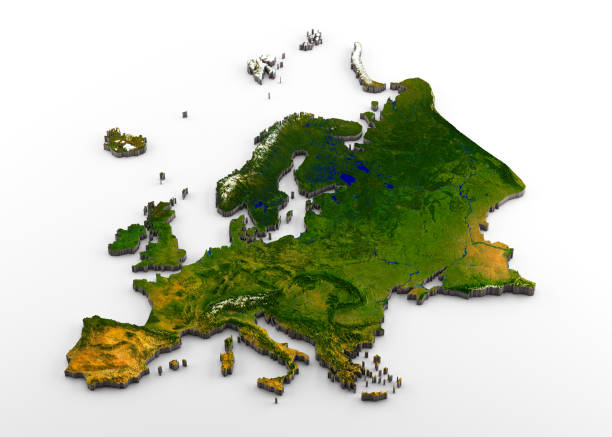 realistic 3d extruded map of the european continent (inclusive of western europe,eastearn europe,and western part of russia) - europe map stock photos and pictures