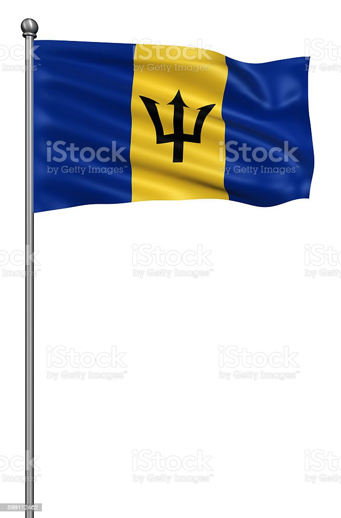 Realistic 3d flag of Barbados fluttering in the wind. stock photo