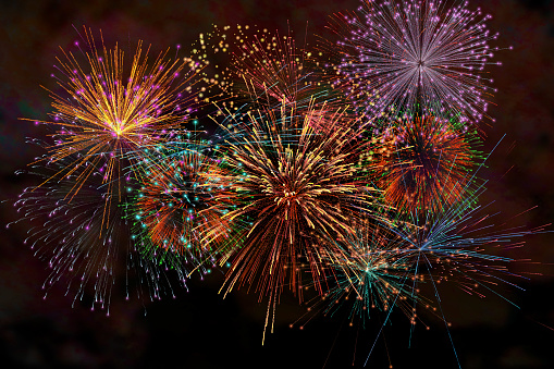 Realistic Colorful firework with smoke for celebrate happy new year 2021 countdown festival anniversary birthday party