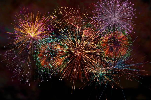 реалистичные 3d иллюстрации красочные фейерверк пиротехнические ночь темное небо с дымом на изолированных черный фон обои использовать пр� - fireworks стоковые фото и изображения