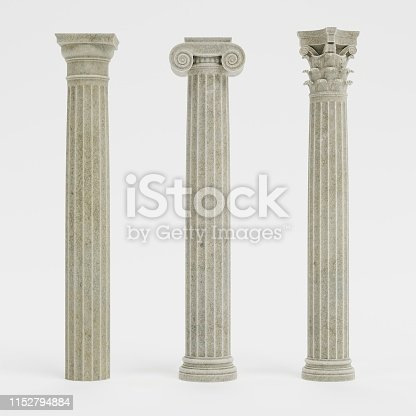 Realistic 3d Render of Columns (Doric, Ionic and Corinthian)