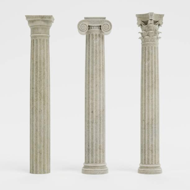 rendu 3d réaliste des colonnes (dorique, ionique et corinthian) - colonne architecturale photos et images de collection