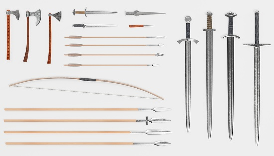 istock Realistic 3d Render of Viking Weapons 1082353186