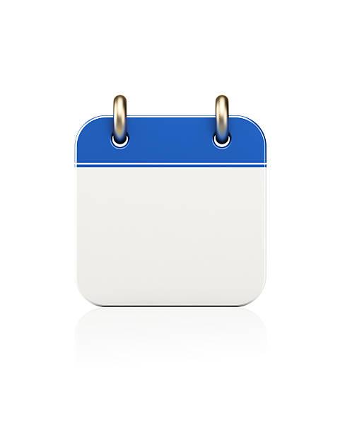 realistic blue calendar icon standing on white - kalender icon stock-fotos und bilder