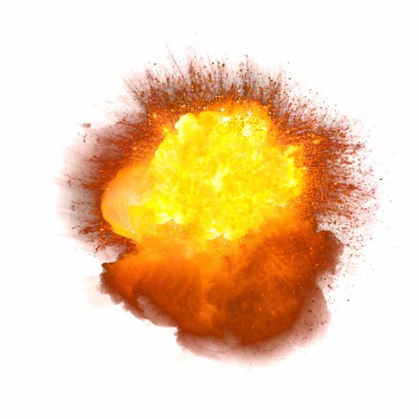 Realistic bomb explosion isolated on white background stock photo