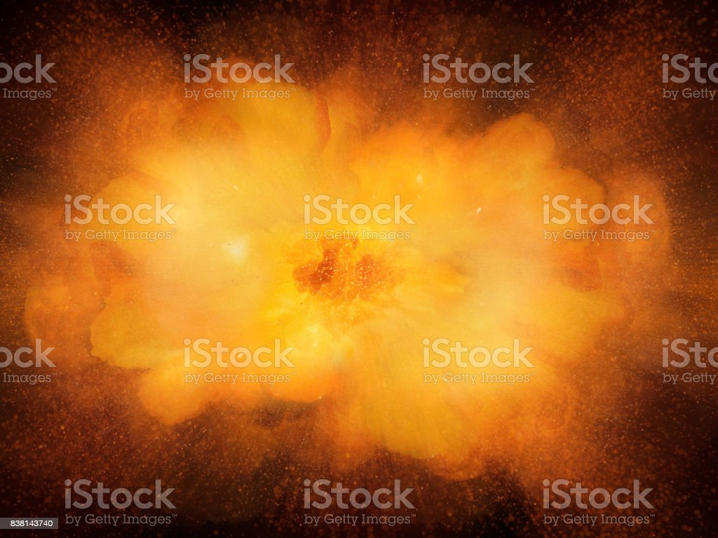 Realistic bomb explosion, orange color with sparks isolated on black background stock photo