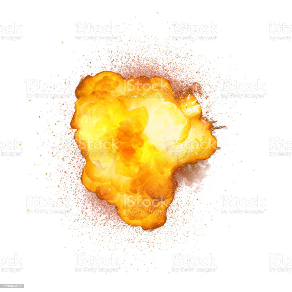 Realistic bomb explosion with sparks isolated on white background stock photo