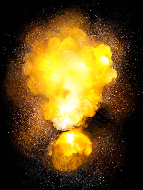 Realistic bomb hot explosion, orange color with white sparks isolated on black background stock photo