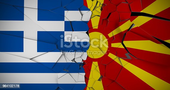 1056280906istockphoto Realistic Broken Background With Greece And Macedonian Flags 3D Rendering 964102178