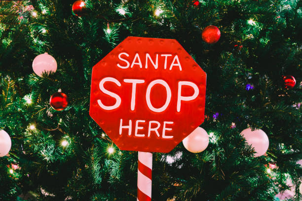 Realistic Christmas Red Stop Sign saying