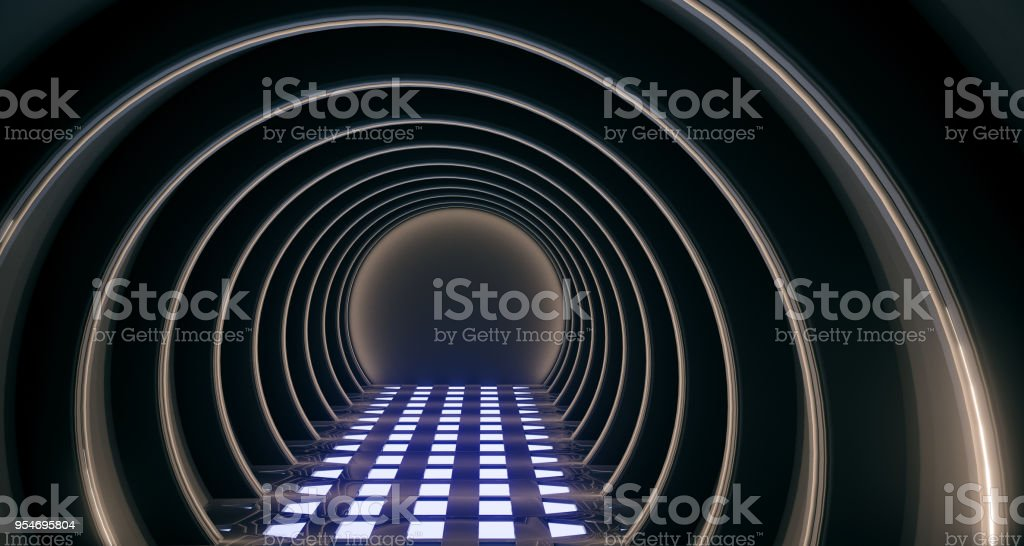 Realistic Circle Sci-Fi Corridor With With Lights stock photo
