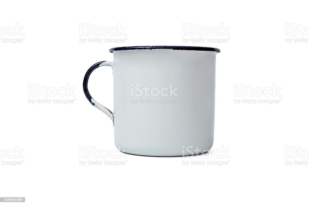 Realistic Classic Enamel Mug Isolated on White stock photo