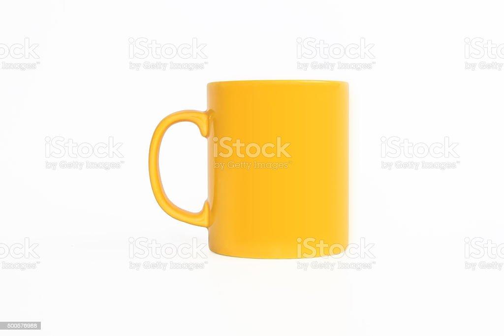 Realistic classic yellow Mug stock photo