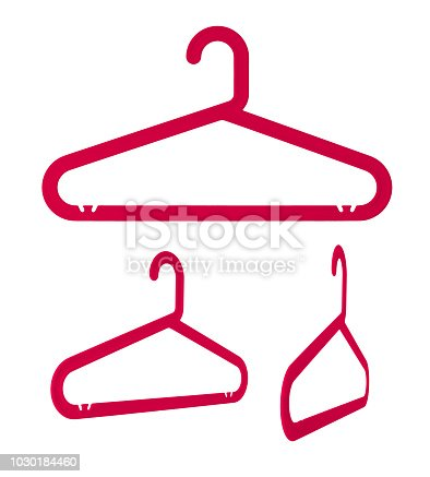 Realistic collection of red clothes hanger with clipping path, Laundry and Housework concept, plastic, Isolated on white background.