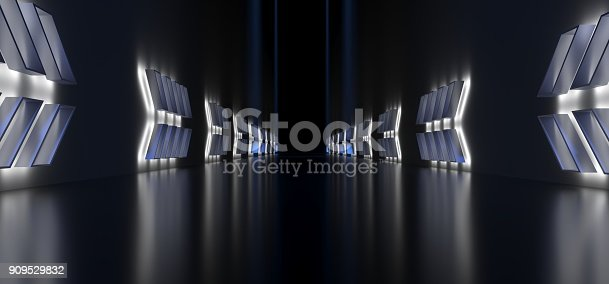 909529832 istock photo Realistic Dark Corridor With Light Arrow Shapes 909529832