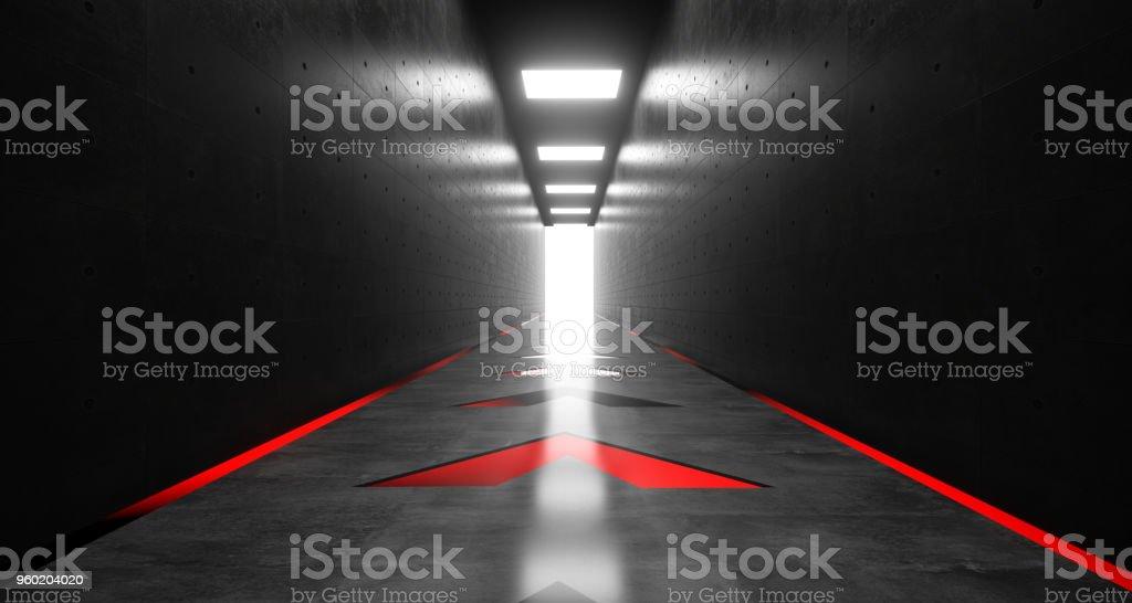 Realistic Dark Sci-Fi Corridor With Neon Arrow Lights  3D Rendering stock photo