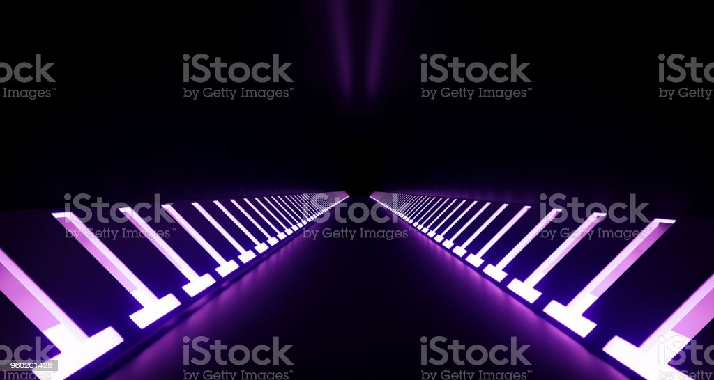 Realistic Dark Sci-Fi Corridor With Neon Lights 3D Rendering stock photo