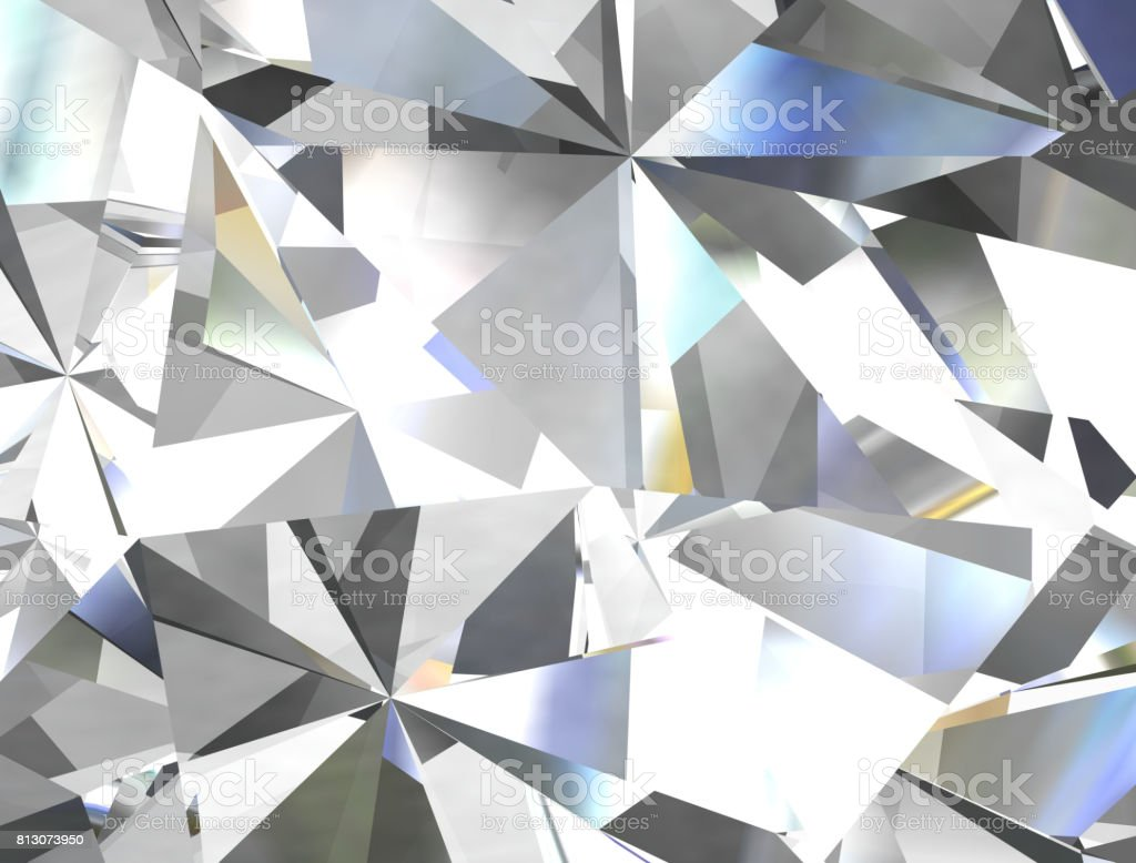 Realistic diamond texture close up, 3D illustration. stock photo
