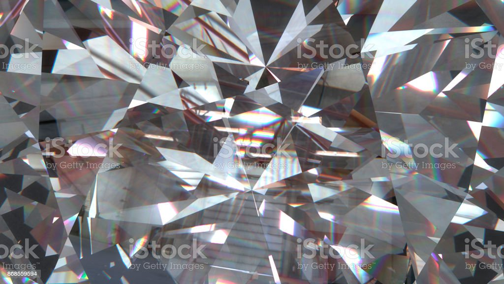 Realistic diamond with caustic close up texture, 3D illustration. stock photo