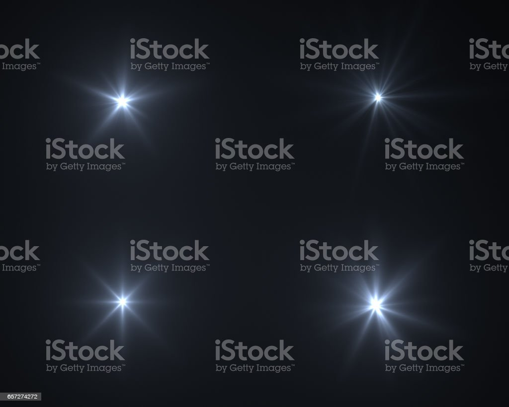 Realistic digital lens flare in black background stock photo