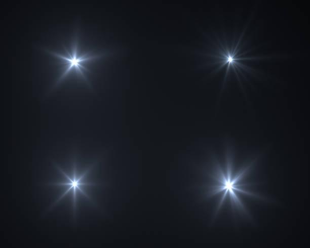 逼真的數位鏡頭耀斑在黑色背景 - 發光的 個照片及圖片檔