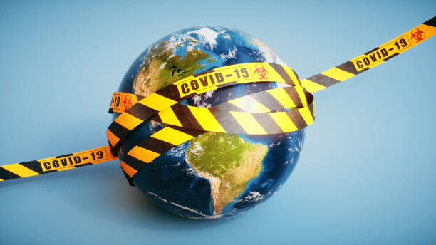 Realistic Earth globe wrapped in stripped security tape with the word COVID-19 and a biohazard symbol, 16:9 format stock photo