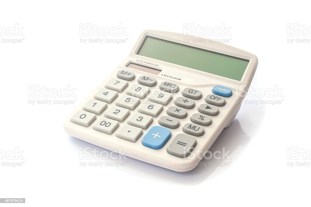 Realistic electronic calculater isolated stock photo