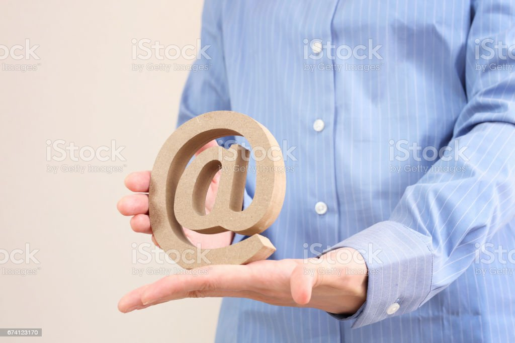 Realistic e-mail sign block letter email symbol royalty-free stock photo