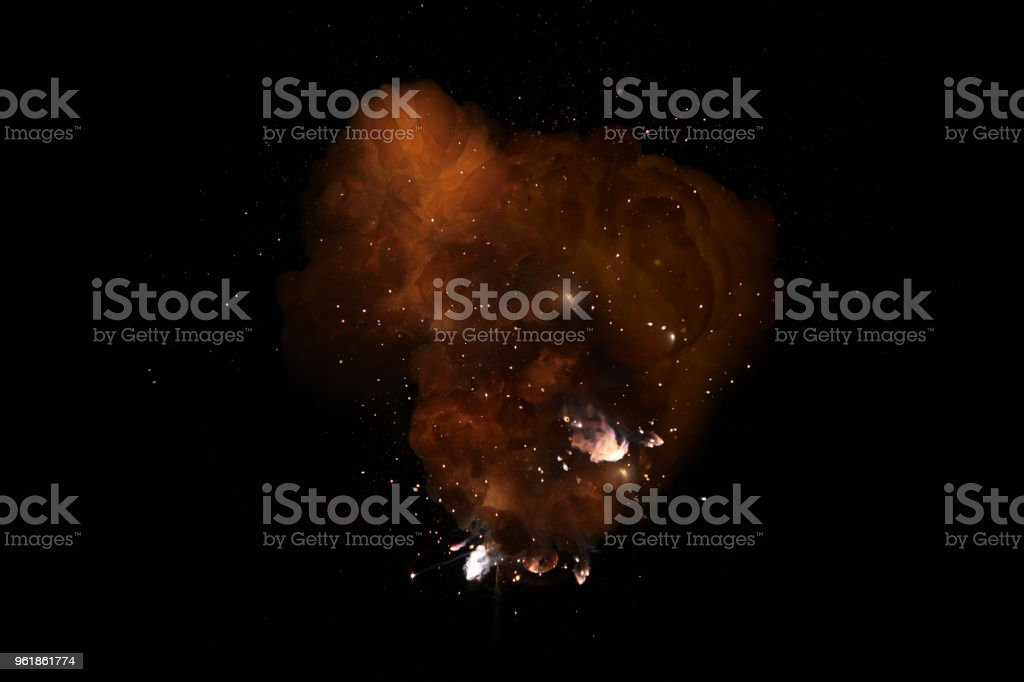 Realistic fiery bomb dark explosion with sparks and smoke isolated on black background stock photo