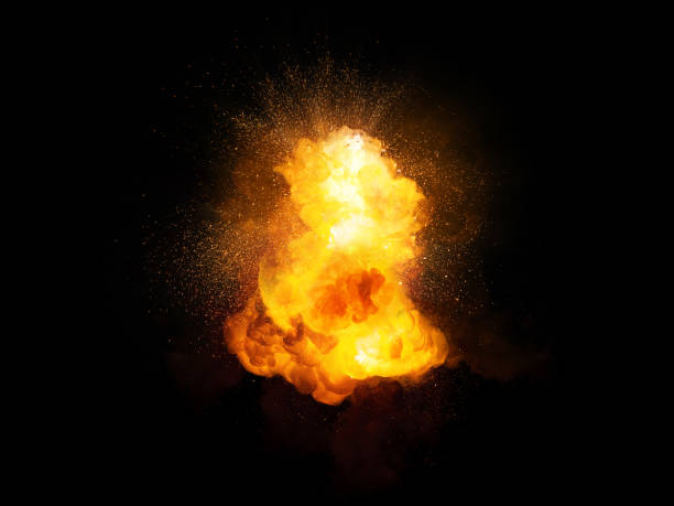 realistic fiery bomb explosion with sparks and smoke isolated on black background - ogień zdjęcia i obrazy z banku zdjęć