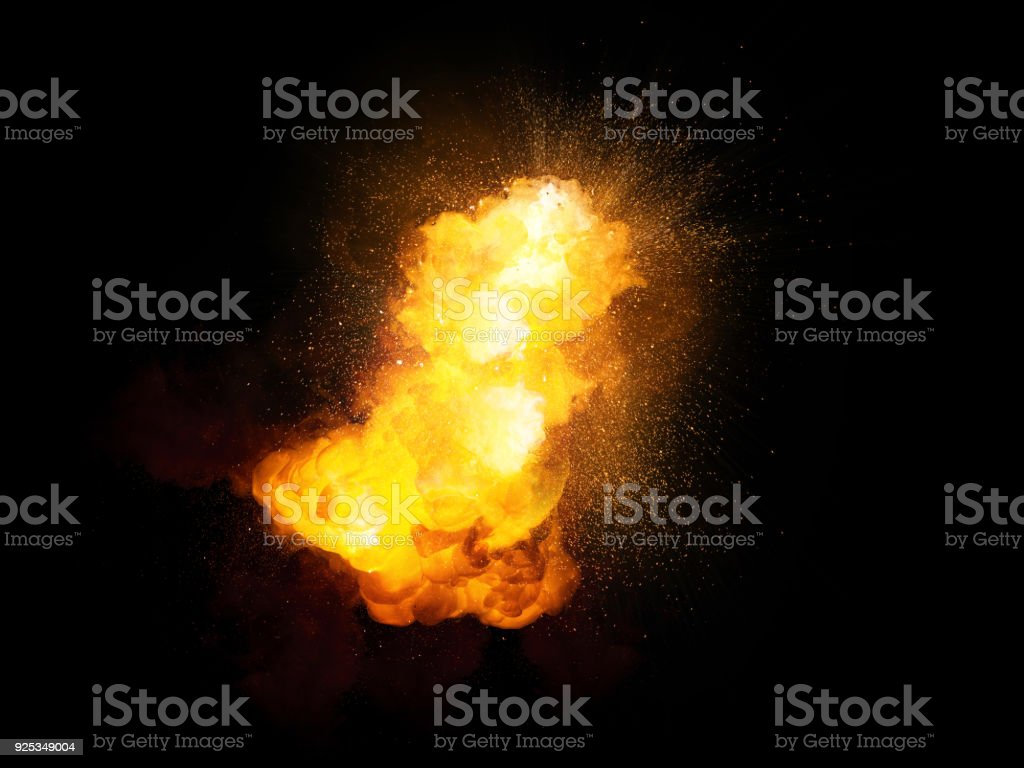 Realistic fiery bomb explosion with sparks and smoke isolated on black background stock photo