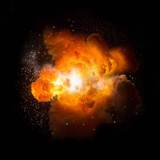 Realistic fiery explosion busting over a black background Realistic fiery explosion busting over a black background explosive stock pictures, royalty-free photos & images