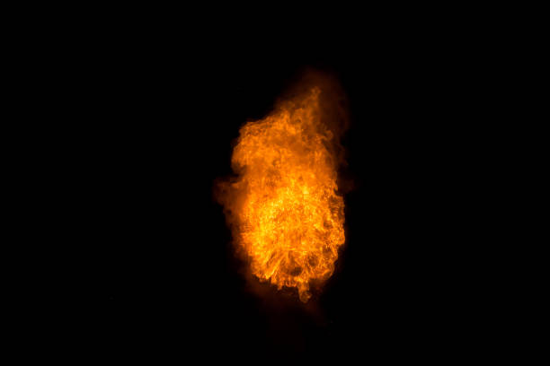 Realistic fiery explosion over a black background – zdjęcie
