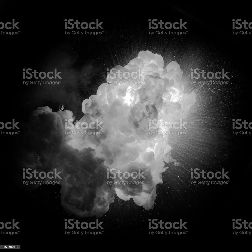Realistiska eldig explosion över en svart bakgrund bildbanksfoto