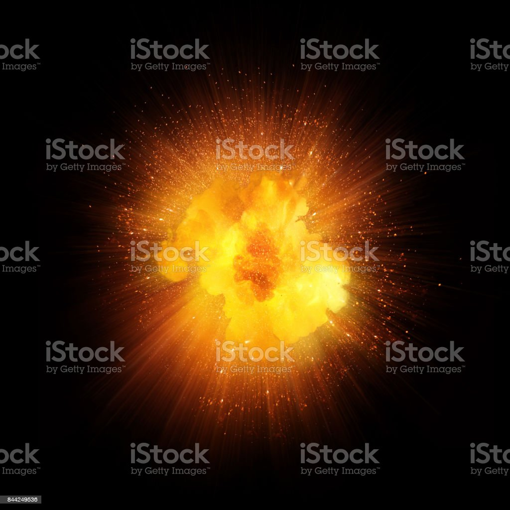 Realistic fire explosion, orange blast with sparks isolated on black background stock photo