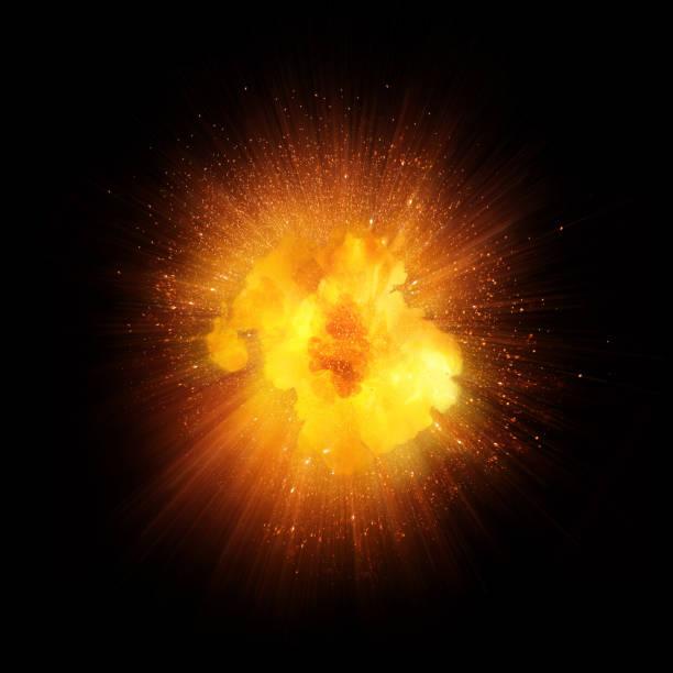 realistische feuer explosion funken orange blast mit isolierten auf schwarzen hintergrund - feuerkugel stock-fotos und bilder