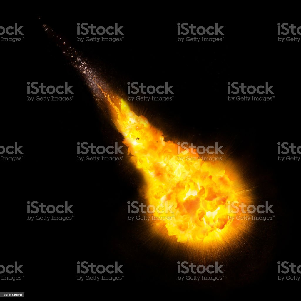 Realistic fireball over a black background stock photo