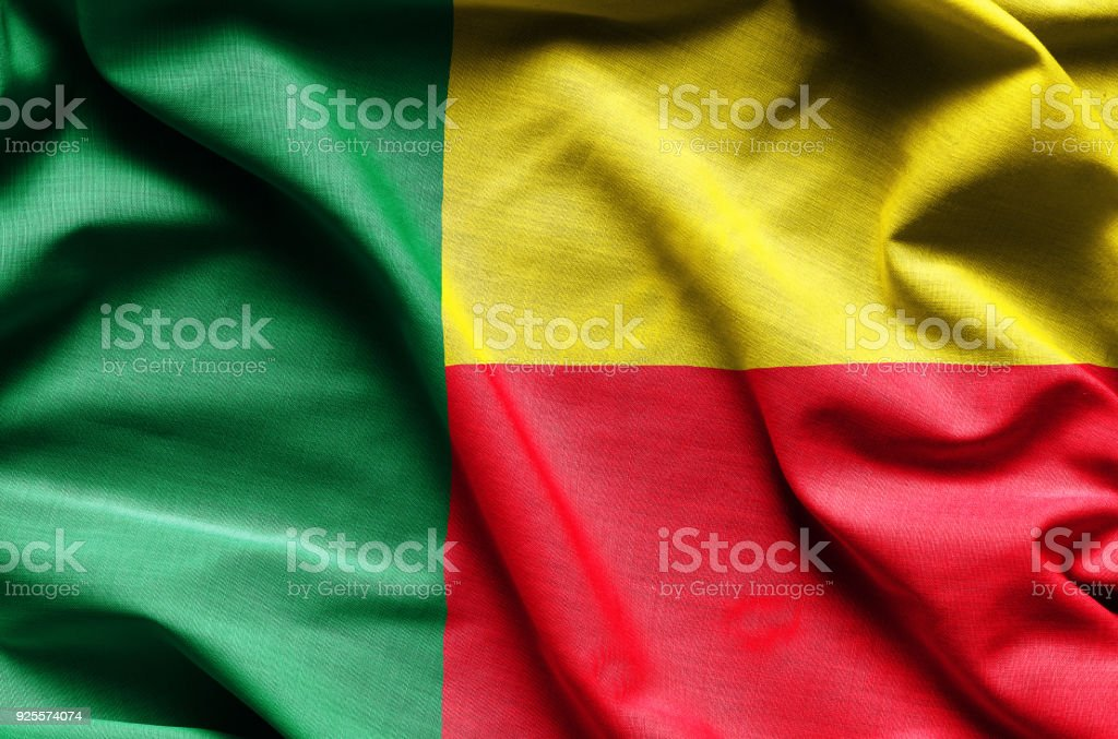 Realistic flag of Benin stock photo