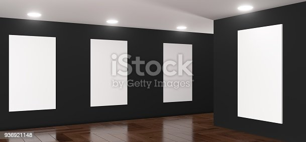 istock Realistic Gallery Room With Big Empty Posters 936921148