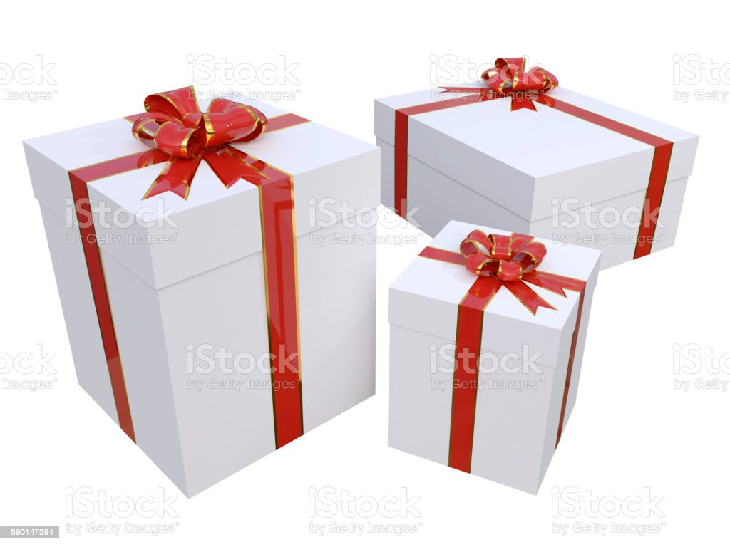 Realistic Gift Boxes In White With Red And Gold Bow Stock Vector Art ...
