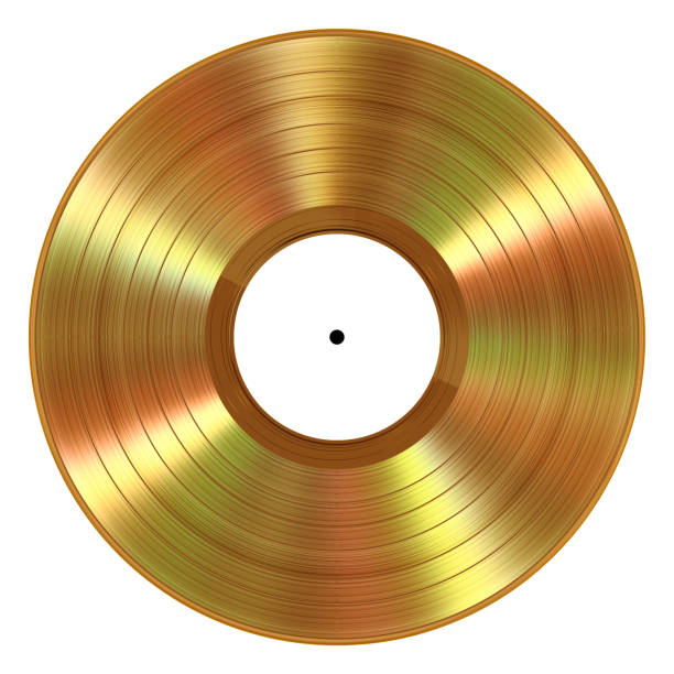 realistic gold vinyl record on white background - records stock photos and pictures