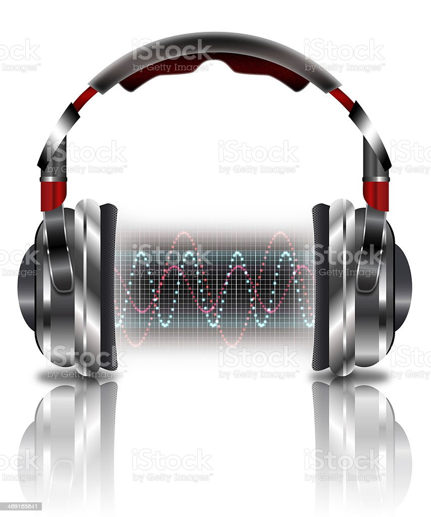 Realistic headphones with music waves stock photo