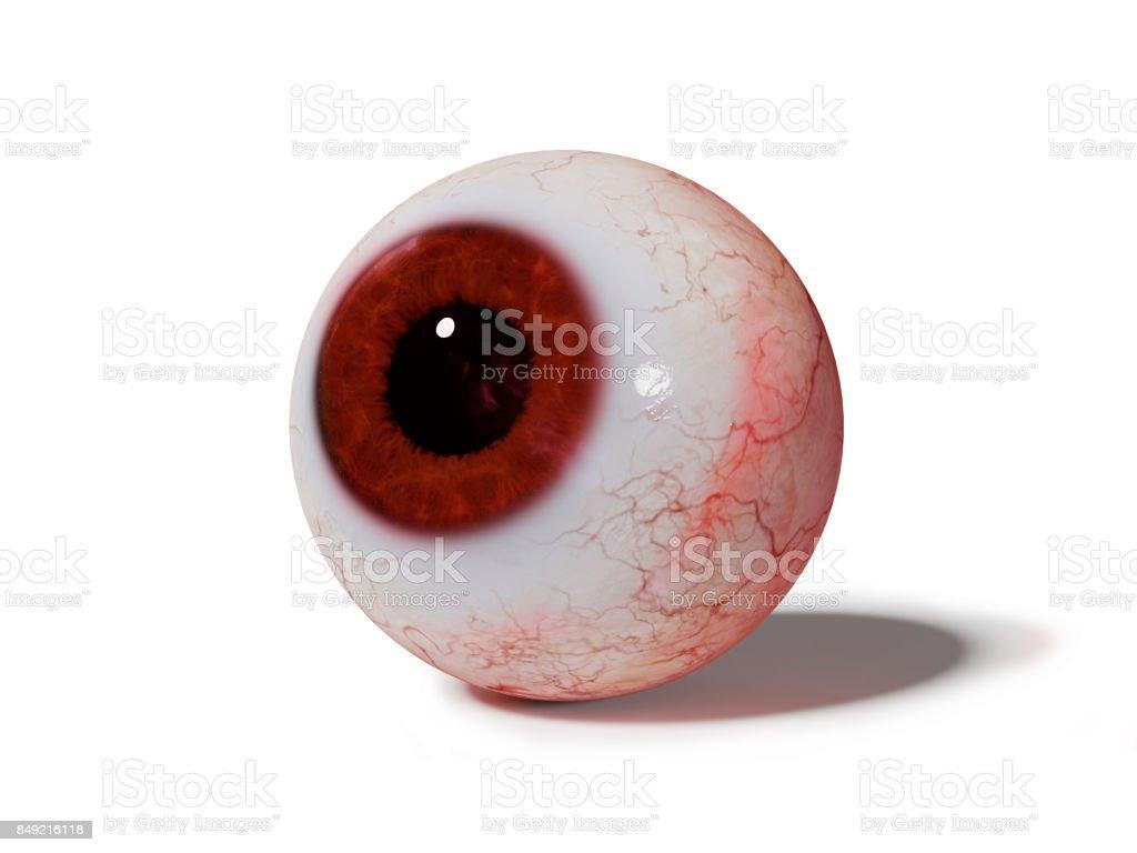 realistische menschliche Auge mit roter Iris isoliert auf weißem Hintergrund – Foto
