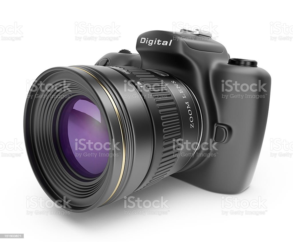 3D realistic illustration of a digital DSLR camera with lens stock photo