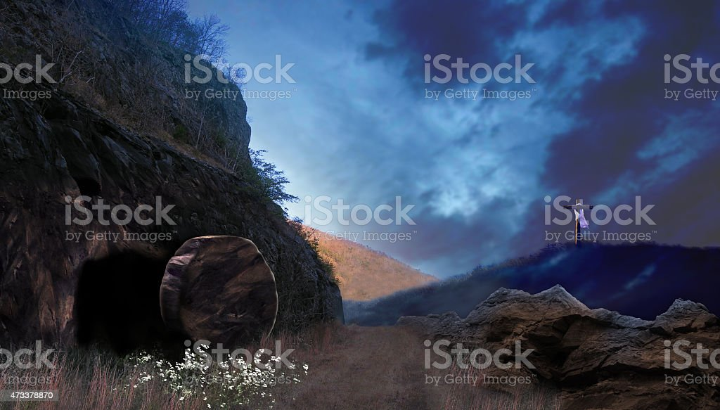 Realistic illustration of the Ressurrection Sunday stock photo