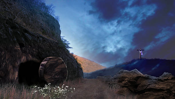 Realistic illustration of the Ressurrection Sunday The tomb of Jesus Christ as described in the Bible, at dawn. We see that the tomb has been opened, and wildflowers are growing at the entrance. In the background is the cross of the crucifixion. tomb stock pictures, royalty-free photos & images